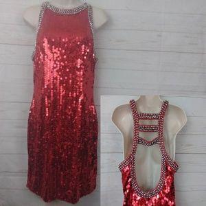 Niteline Della Roufogali Red Sequin Dress 12